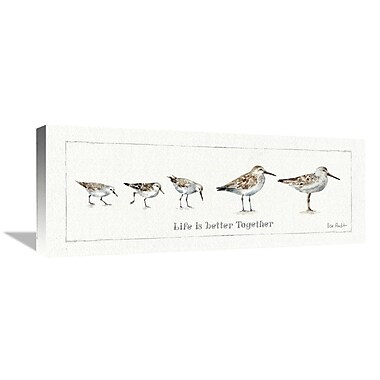 East Urban Home 'Pebbles and Sandpipers I' Print on Canvas; 12'' H x 30'' W