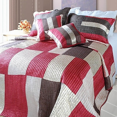Winston Porter Allensby Modern Block Satiny Polyester Patchwork Bedspread; Twin