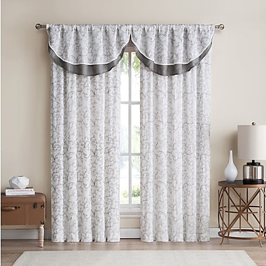 Darby Home Co Sheppton Toile Room Darkening Rod Pocket Curtain Panels (Set of 2); Charcoal
