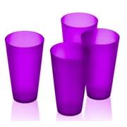 Freeport Park Alvin Bright Plastic 16 oz. Tumbler Cups (Set of 4); Purple