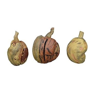 GT DIRECT CORP Handcrafted Wooden Pumpkin Assortment (Set of 3)