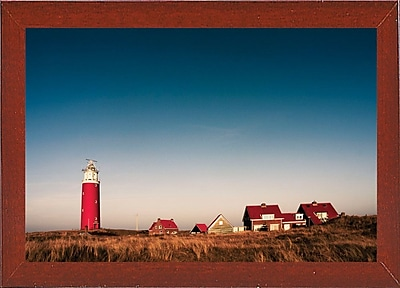 Breakwater Bay 'Texel Lighthouse' Photographic Print; Red Mahogany Wood Medium Framed Paper