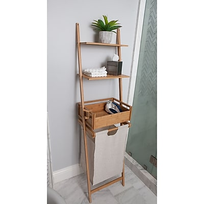 BEST LIVING INC Bamboo Shelf Laundry Basket