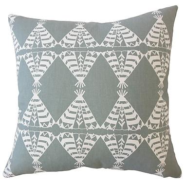 Bloomsbury Market Vail Graphic Down Filled 100pct Cotton Lumbar Pillow; Sundown/Gray