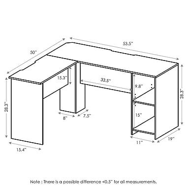 Ebern Designs Eakins L-Shaped Corner Desk w/ Bookshelve