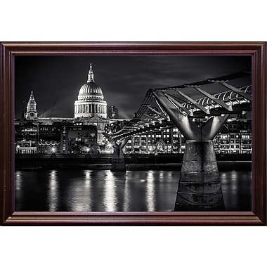 Ebern Designs 'Letters from London 1' Photographic Print; Cherry Wood Grande Framed Paper