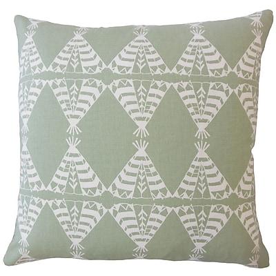 Bloomsbury Market Vail Graphic Down Filled 100pct Cotton Lumbar Pillow; Sundown/Green