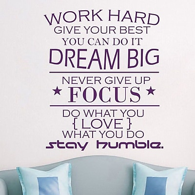 Decal House Work Hard Quote Wall Decal; Violet