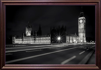 Ebern Designs 'Letters from London 2' Photographic Print; Cherry Wood Grande Framed Paper
