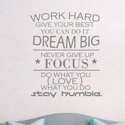 Decal House Work Hard Quote Wall Decal; Silver Metallic