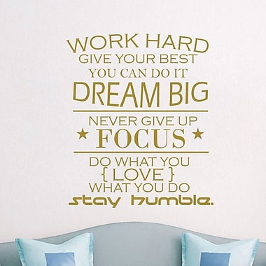 Decal House Work Hard Quote Wall Decal; Gold