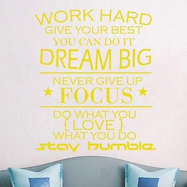 Decal House Work Hard Quote Wall Decal; Yellow