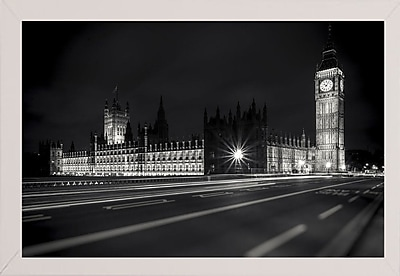 Ebern Designs 'Letters from London 2' Photographic Print; White Wood Medium Framed Paper