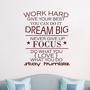Decal House Work Hard Quote Wall Decal; Burgundy