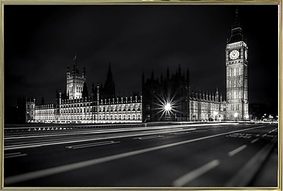 Ebern Designs 'Letters from London 2' Photographic Print; Gold Metal Framed Paper