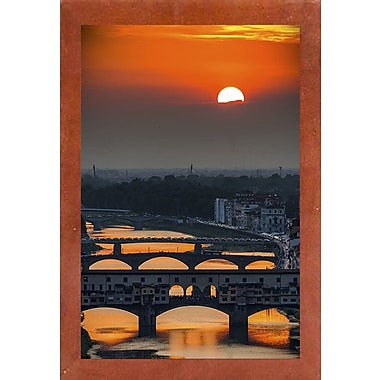 Ebern Designs 'Crimson Sky' Photographic Print; Canadian Walnut Wood Medium Framed Paper