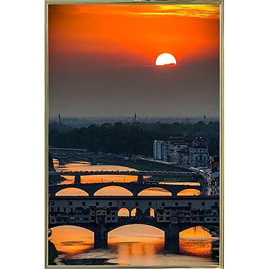 Ebern Designs 'Crimson Sky' Photographic Print; Gold Metal Framed Paper