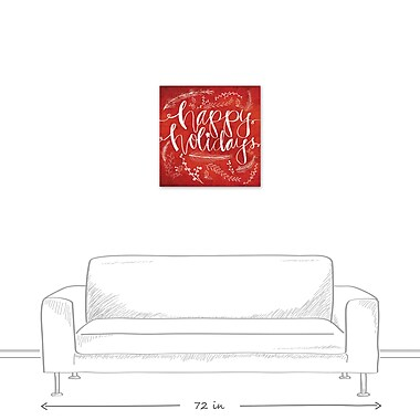 The Holiday Aisle 'Red Happy Holidays' Graphic Art Print on Canvas; 24'' H x 24'' W