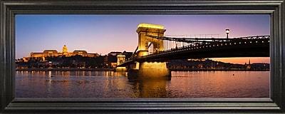 East Urban Home 'Panorama Budapest Chain Bridge' Photographic Print; Black Wood Grande Framed Paper