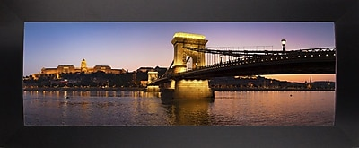East Urban Home 'Panorama Budapest Chain Bridge' Photographic Print; Black Wood Large Framed Paper