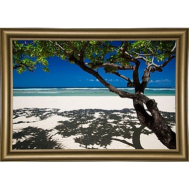 East Urban Home 'Shadows on the Beach' Photographic Print; Bistro Gold Framed Paper