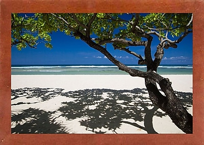 East Urban Home 'Shadows on the Beach' Photographic Print; Canadian Walnut Wood Medium Framed Paper