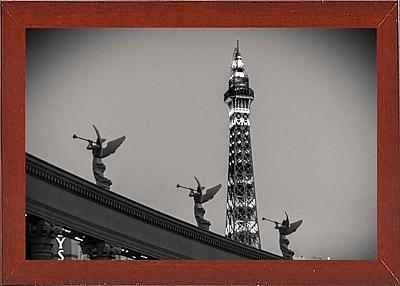 East Urban Home 'Rome vs Paris' Photographic Print; Red Mahogany Wood Medium Framed Paper