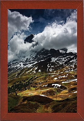 East Urban Home 'The North Face of Eiger' Photographic Print; Red Mahogany Wood Medium Framed Paper