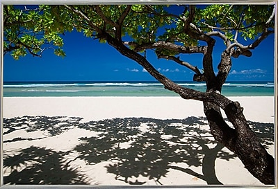 East Urban Home 'Shadows on the Beach' Photographic Print; Silver Metal Framed Paper