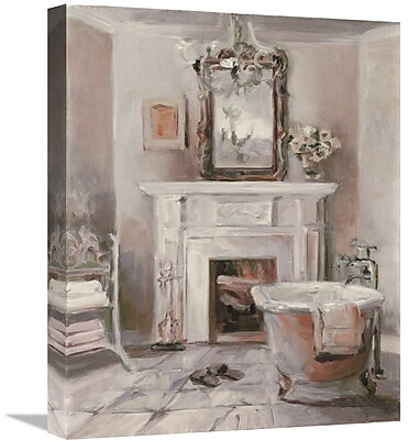 East Urban Home 'French Bath IV Gray and Blush' Print on Canvas; 35'' H x 28'' W