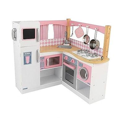 KidKraft Grand Gourmet Corner Kitchen Set; Pink/White