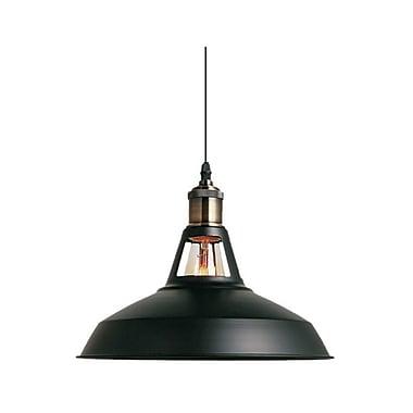 Ivy Bronx Brantner Industrial 1-Light Bowl Shade Mini Pendant; Black