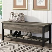 Gracie Oaks Savon Open-Top Wood Storage Bench; Gray Wash