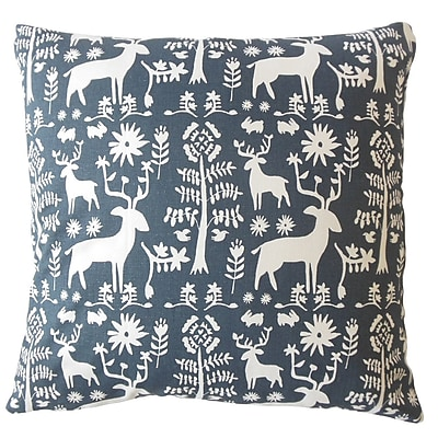 Harriet Bee Avondale Animal Print Down Filled 100pct Cotton Lumbar Pillow; Blue
