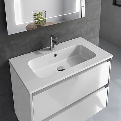 WS Bath Collections Ambra 24'' Single Bathroom Vanity Set Column and Mirror; Gloss White