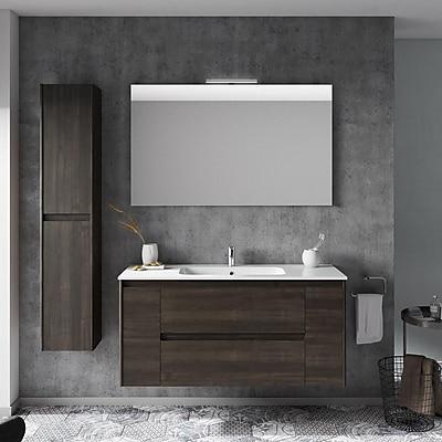WS Bath Collections Ambra 47'' Single Bathroom Vanity Set w/ Column and Mirror; Samara Ash