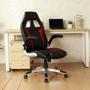 Orren Ellis Faux Leather High-Back Swivel Video Racing Game Chair; Red