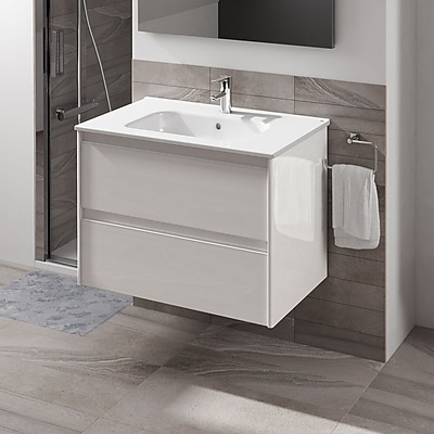 WS Bath Collections Ambra 40'' Single Bathroom Vanity Set; Gloss White