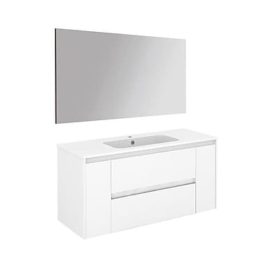 WS Bath Collections Ambra 47'' Single Bathroom Vanity Set w/ Mirror; Gloss White
