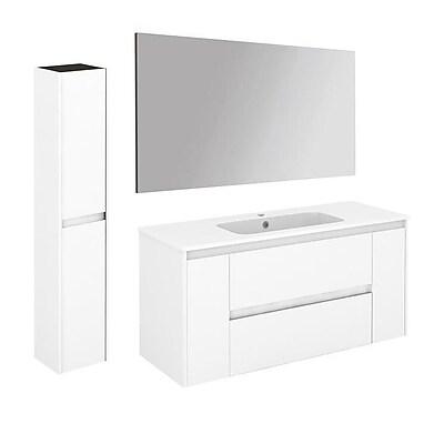 WS Bath Collections Ambra 47'' Single Bathroom Vanity Set w/ Column and Mirror; Gloss White