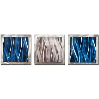 Orren Ellis 3 Piece Modern Essence Wall D cor Set; Blue/Silver