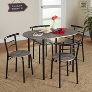 Winston Porter Ryanne Bistro 5 Piece Dining Set; Black / Gray