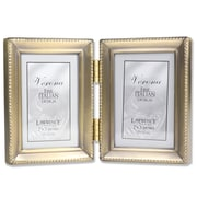 Antique Gold Brass Hinged Double 2x3 Picture Frame - Beaded Edge Design