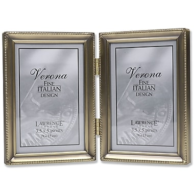 11435D Antique Gold Bead 3.5x5 Hinged Double Picture Frame