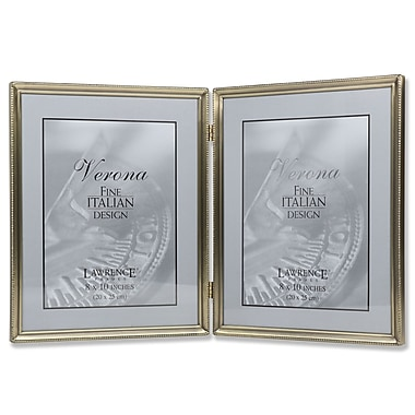 Antique Brass 8x10 Hinged Double Picture Frame - Bead Border Design