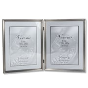 """Lawrence Frames 8"""" x 10"""" Metal Pewter Hinged Double Picture Frame (11580D)"""