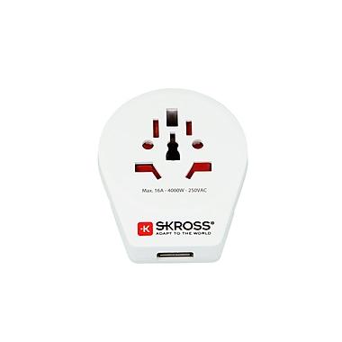 SKROSS – Adaptateur de voyage mondial pour l'Europe, avec port USB, blanc (1.500260)