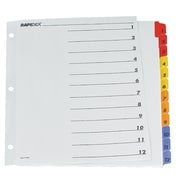 Oxford - Onglets de couleurs assorties Rapidex, 1 à 12 (CR213-12RD)