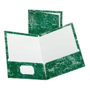 Oxford - Chemises à deux pochettes laminées de marbre, format lettre, vert émeraude (51617)