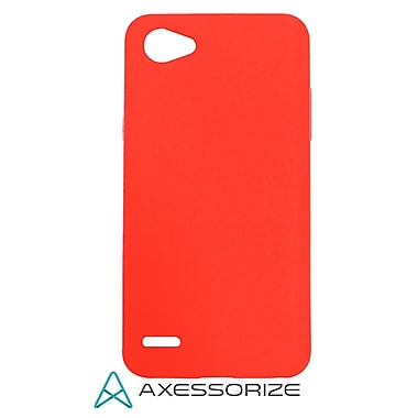 Axessorize COMBO Gel Case LG Q6, Tempered Glass Screen Protector, Red (LG1703)
